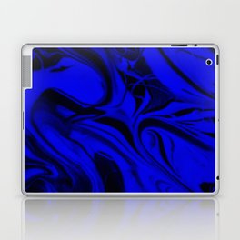 Black and Blue Swirl - Abstract, blue and black mixed paint pattern texture Laptop & iPad Skin