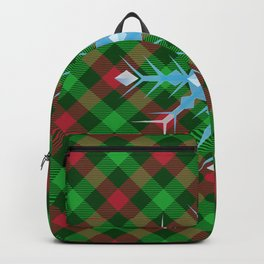 Christmas Plaid Blue Snowflake With Diamond Design Buffalo Plaid Winter Xmas (diagonal red and green) Backpack
