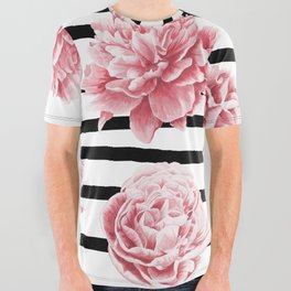 Simply Drawn Stripes and Roses All Over Graphic Tee