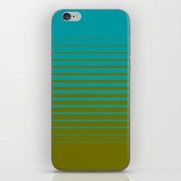 gradient stripes aqua olive iPhone Skin