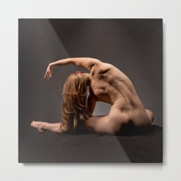 3116s-DEW Beautiful Bare Back Muscles Yoga Side Stretch Fine Art Nude Fit Woman Strong Long Blonde Metal Print