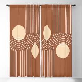 Mid Century Modern Geometric 84 in Beige and Terracotta (Rainbow and Sun Abstraction) Blackout Curtain