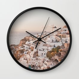 Santorini golden sunset, white houses, dome churches, reflection Wall Clock