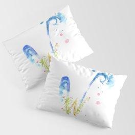 Letter W watercolor - Watercolor Monogram - Watercolor typography - Floral lettering Pillow Sham