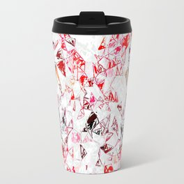 red heart shape abstract with white abstract background Travel Mug