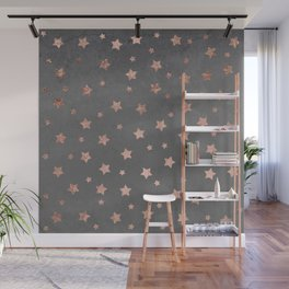 Rose gold Christmas stars geometric pattern grey graphite industrial cement concrete Wall Mural
