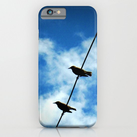Birds on a Wire -- White clouds, blue sky iPhone & iPod Case