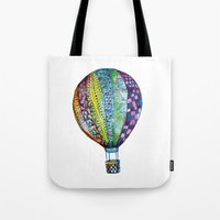 hot air balloon Tote Bags featuring Hot Air Balloon by Emily Stalley
