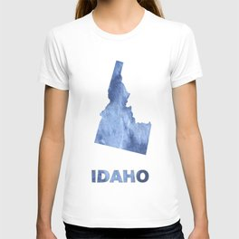 Idaho map outline Blue clouds watercolor pattern T-shirt
