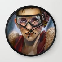 pilot Wall Clocks featuring Pilot by Shoko Lam