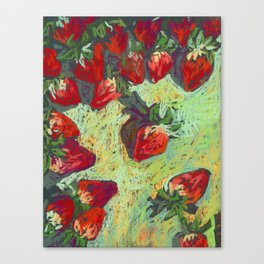 Strawberries on a table. Pastel. Sill life. Canvas Print