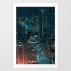 Swanston Street by Night Art Print
