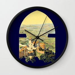 Vintage Litho Travel ad Assisi Italy Wall Clock