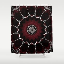 Deep Ruby Red Mandala Design Shower Curtain