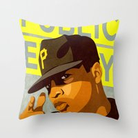 chuck Throw Pillows featuring Chuck D by Kim Hoffnagle