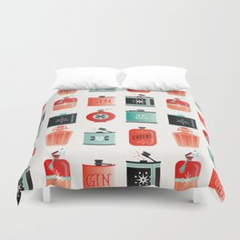 Flask Collection – Red & Turquoise Palette Duvet Cover