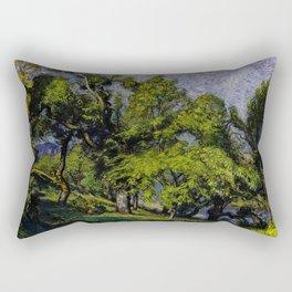 Chestnut Trees above a River Rectangular Pillow