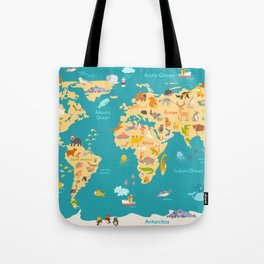 Animal map for kid. World vector poster for children, cute illustrated Tote Bag
