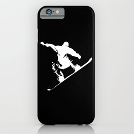 Snowboarding White Abstract Snow Boarder On Black iPhone Case
