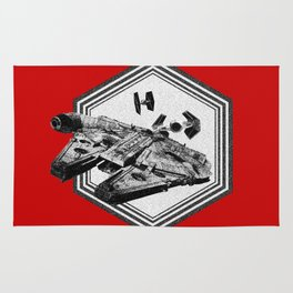 Millennium Falcon TIE Fighter Dotwork - Pointillism Art Rug