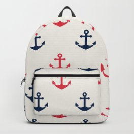 Blue Pink Sea Anchor Pattern Backpack