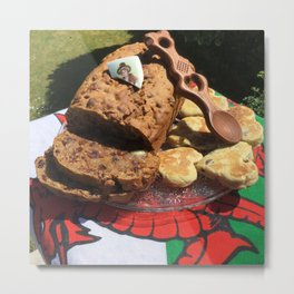 Food of Wales, welsh cakes love spoon traditional food bara brith Metal Print