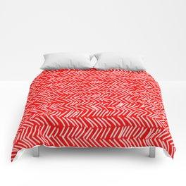 Scarlet Herringbone Lines Comforters