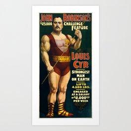 Strongest Man On Earth - Vintage Strongman Art Print