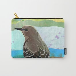 Mockingbird on a Wire Fence - In The Morning Carry-All Pouch