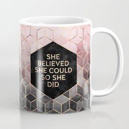 She Believed She Could - Grey Pink Coffee Mug