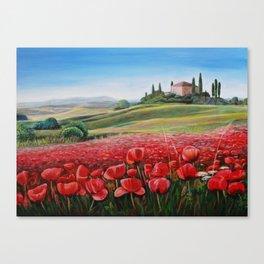 Italian Poppy Field Canvas Print