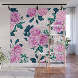 Girly Pink Flowers and Leopard Animal Print Wall Mural