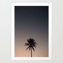 Palm tree silhouette at sunset Fiji Print Art Print