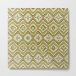 Bohemian Tribal Pattern, Caramel, Tan and Apple Green Metal Print