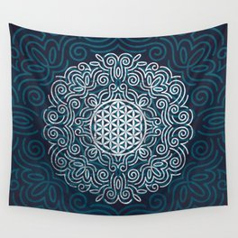 Flower Of Life (Silver Lining) Wall Tapestry