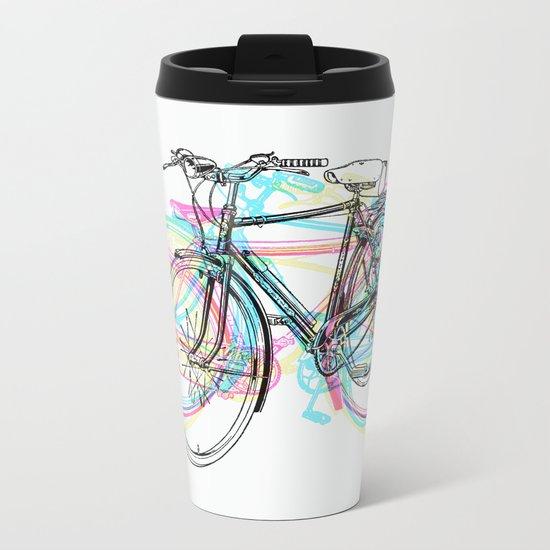 Artistic modern pink teal abstract bicycles art Metal Travel Mug