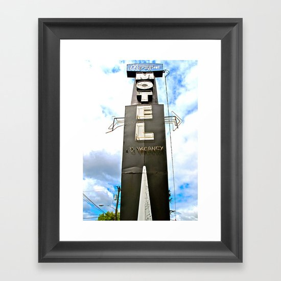 Historic motel sign Framed Art Print