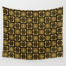 Traditional Yellow English Tudor Half-timbered House Pattern Wall Tapestry