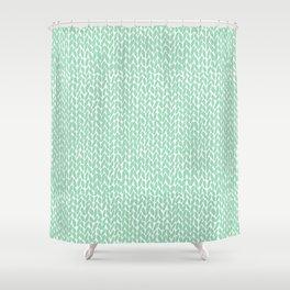 Hand Knit Mint Shower Curtain