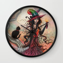 October Flame Halloween Witch and Black Cat Illustration Wall Clock
