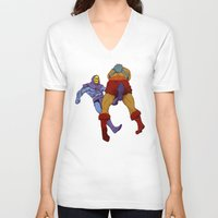 skeletor V-neck T-shirts featuring skeletor kick by Toni Caputo