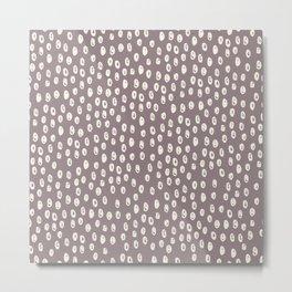 Mauve grayish pink white geometrical polka dots pattern Metal Print