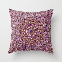 Colorful Spiritual Garden Mandala Throw Pillow
