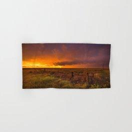 Sunset on the Plains - Sun Illuminates Sky After Stormy Day Hand & Bath Towel