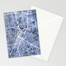 Houston Texas City Street Map Stationery Cards