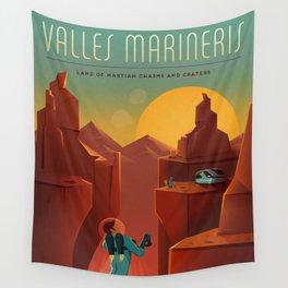 Vintage Adventure Travel Olympus Mons Awaits Wall Tapestry