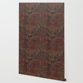 Boho Chic Dark VII // 17th Century Colorful Medallion Red Blue Green Brown Ornate Accent Rug Pattern Wallpaper