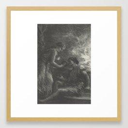 (La Valkyrie Acte 1er,Sieglinde et Siegmund) from the book Richard Wagner, sa vie et ses oeuvres by Framed Art Print