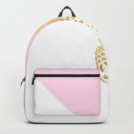 Pink white colorblock gold geometrical pineapple Backpack