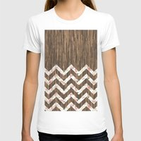 preppy T-shirts featuring Vintage Preppy Floral Chevron Pattern Brown Wood by Girly Road